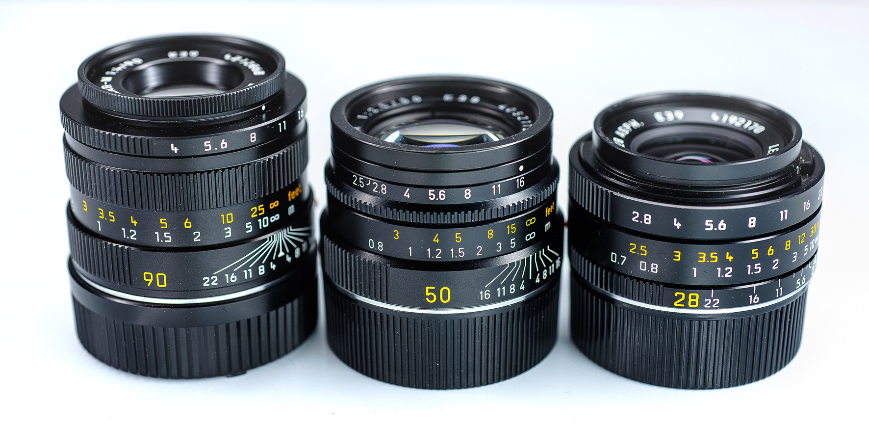 Leica lens trio 90mm macroelmar 50mm summarit 28mm elmarit lenses review