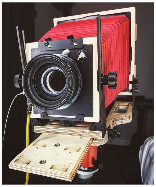 intrepid 4x5 camera photo - red bellows