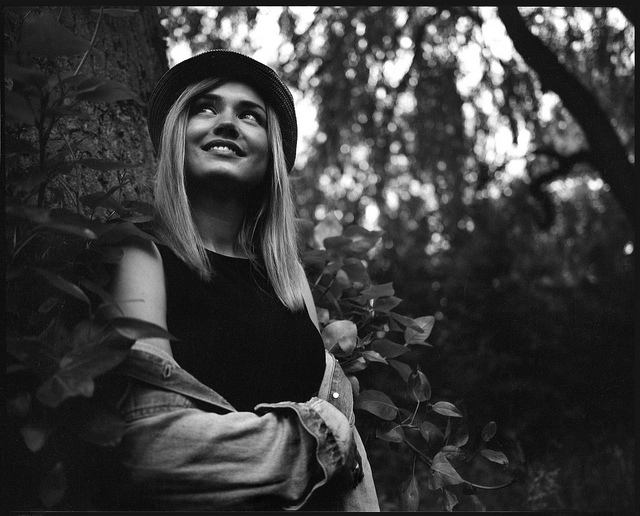Mamiya 7 Review - Portrait of girl smiling B&W