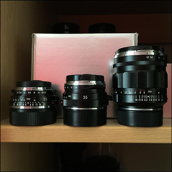 Voigtlander 35mm Color Skopar vs Noktov 1.4 vs Nokton 1.2 lens size